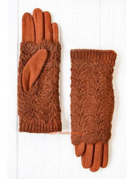Зимние вязаные перчатки митенки
