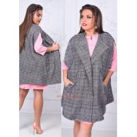 Жіноча жилетка пальто в клітинку великого розміру