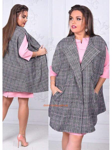 Женская жилетка пальто в клетку большого размера