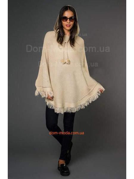 Вязаное пончо женское с капюшоном