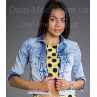 Джинсовая куртка женская с коротким рукавом