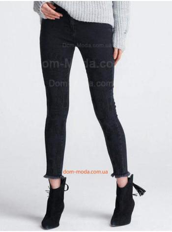 """Женские черные джинсы с вышивкой """"Скинни"""""""