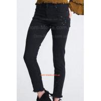 """Чорні жіночі джинси скінні """"Вишивка"""""""