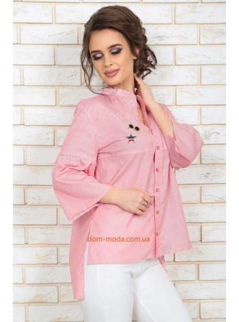 Летняя женская рубашка в полоску свободного фасона