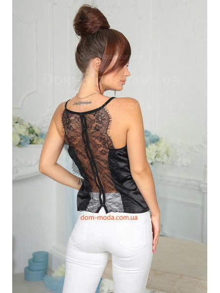 Шелковая майка с кружевной спиной