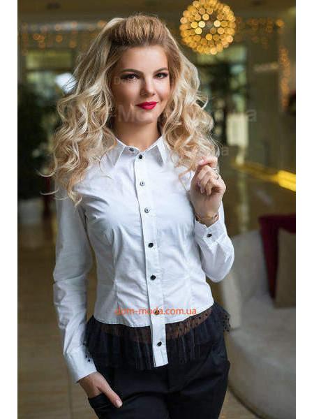 Нарядная белая рубашка женская