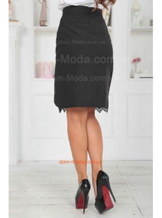 Женская черная юбка с запахом