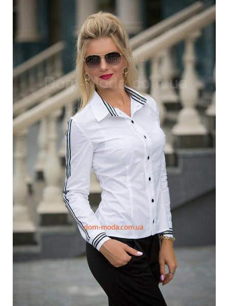 Жіноча біла сорочка з лампасами