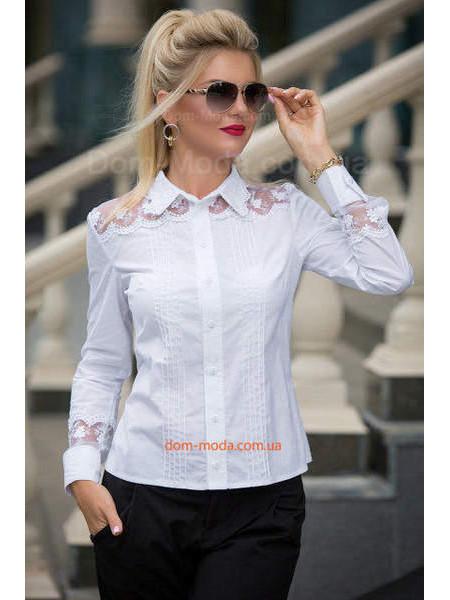 Нарядна біла сорочка з мереживом