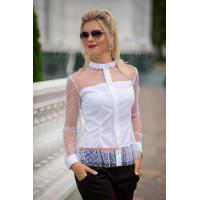 Нарядная белая рубашка с сеткой