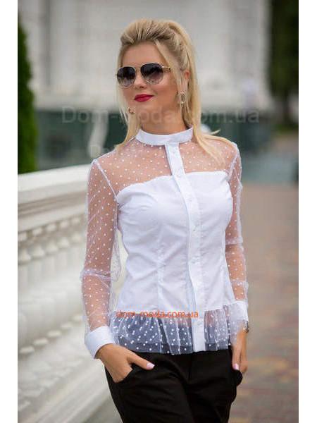 Нарядна біла сорочка з сіткою