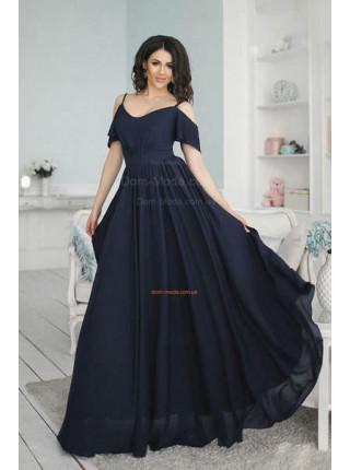 Вечернее длинное летящее платье из шифона