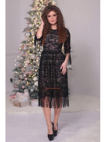 Красиве вечірнє плаття міді з гіпюру