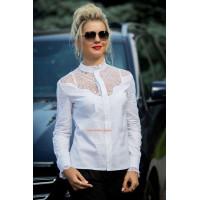 """Біла модна жіноча блуза з довгим рукавом """"Лауріка"""""""