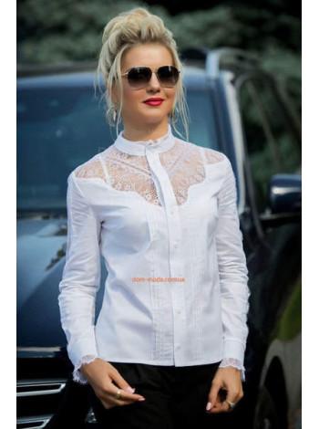 """Белая модная женская блуза с длинным рукавом """"Лаурика"""""""