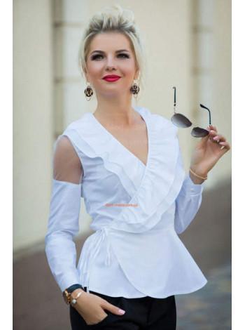 """Белая стильная блуза с баской """"Бонни"""""""