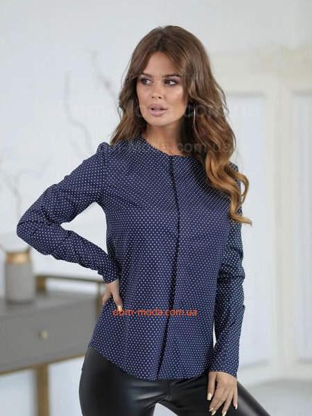 Женская блузка в горошек с длинным рукавом