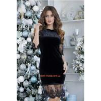 Жіноче бархатне плаття з мереживом