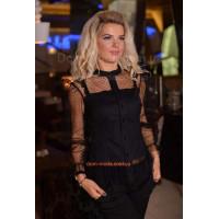 Женская черная рубашка с прозрачным рукавом