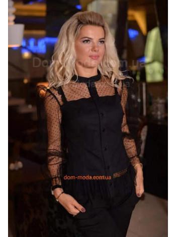 Жіноча чорна сорочка з прозорим рукавом