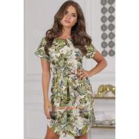 Стильне жіноче лляне плаття в квітковий принт