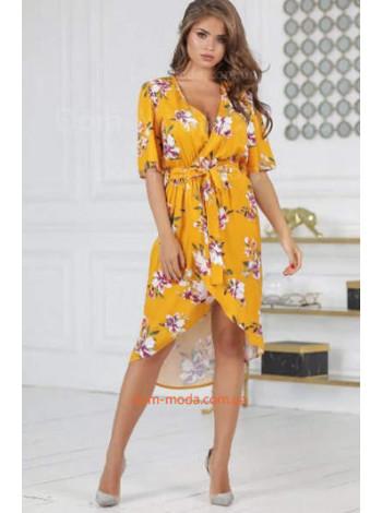 Женское стильное платье на запах в цветочек