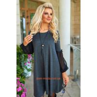 Женское короткое свободное платье с рукавом