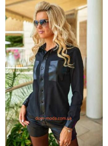Шифоновая блузка с кожаными вставками с длинным рукавом