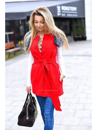 Модний подовжений жилет жіночий з хутром
