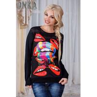 Женский черный свитшот Губы