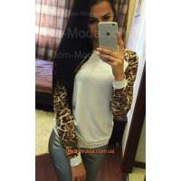 Білий жіночий реглан з леопардовим рукавом