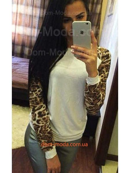 Белый женский реглан с леопардовым рукавом