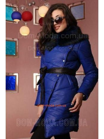 """Женская стеганая куртка с меховой отделкой """"Шар"""""""