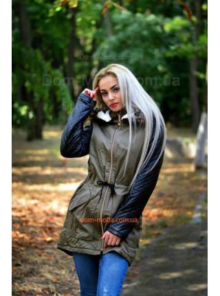 """Модна жіноча парка із шкіряними рукавами """"Май"""""""