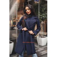 """Жіноче модне пальто за коліно із поясом """"Марсала"""""""