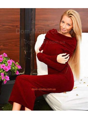 """Теплое женское платье с длинным рукавом и открытыми плечами """"Хомут"""""""