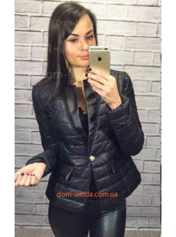 """Женская куртка пиджак со вставками из эко кожи """"Лидсей"""""""