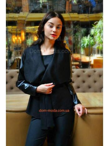 """Короткое женское пальто со вставками из искусственной кожи """"Дикир"""""""