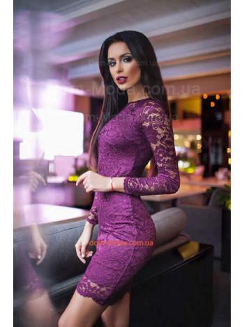 Короткое вечернее женское ажурное платье