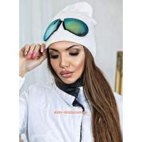 Модная шапка из ангоры со съемными очками