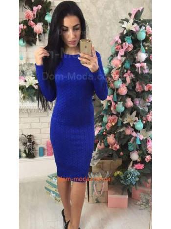 """Стеганное женское платье с длинным рукавом """"Косичка"""""""