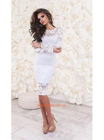 Стильне вечірнє плаття із гіпюру і довгим рукавом