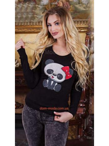 """Стильный свитшот с длинным рукавом и стразами """"Панда"""""""