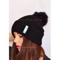 Модна шапка жіноча з помпоном SRS