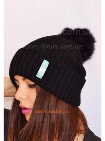 Модная шапка женская с помпоном SRS