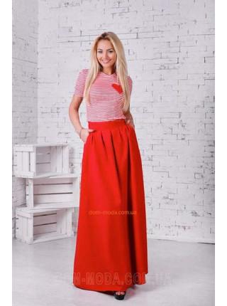 Женская юбка макси на широком поясе